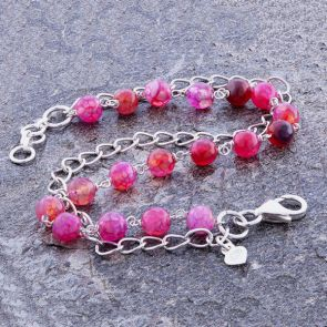 Pink Agate Classic Chain Bracelet