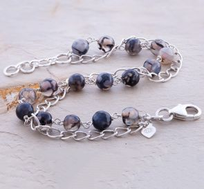 Grey Agate Classic Chain Bracelet