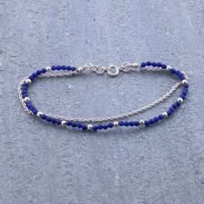 Blue Coloured Jade Silver Bracelet