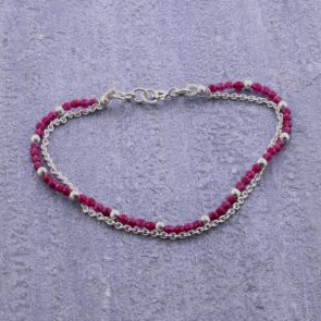 Cherry Coloured Jade Silver Bracelet