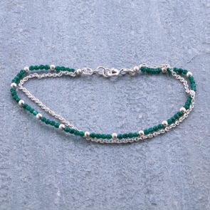 Green Coloured Jade Silver Bracelet