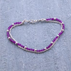 Purple Coloured Jade Bracelet