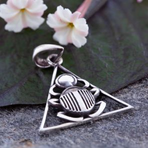 Scarab in a Triangle Pendant