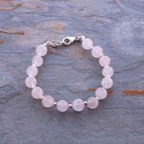 Rose Quartz Silver Ball Bracelet