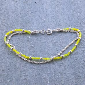 Yellow coloured Jade Silver Bracelet
